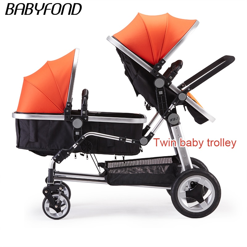 Babyfond коляска для близнецов детская может применяться сидения и сложить