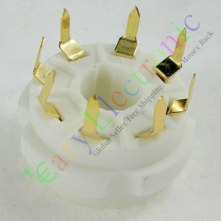 Großhandel und einzelhandel 20 stücke PCB Vergoldeten 8pin Keramik vakuum-röhrenfassung top mount gold octal ventilbasis kostenloser versand