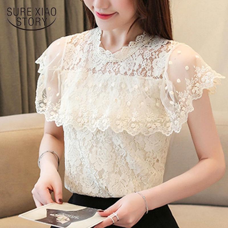 Blusas mujer de moda 2019 blouse for women white blouse ruffles hollow lace blouse short top for women white shirts 3812 50