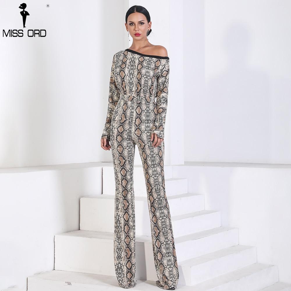 Missord 2019 Sexy  Long Sleeve off shoulder snake  jumpsuit  print  Elegant  Playsuit  FT9721