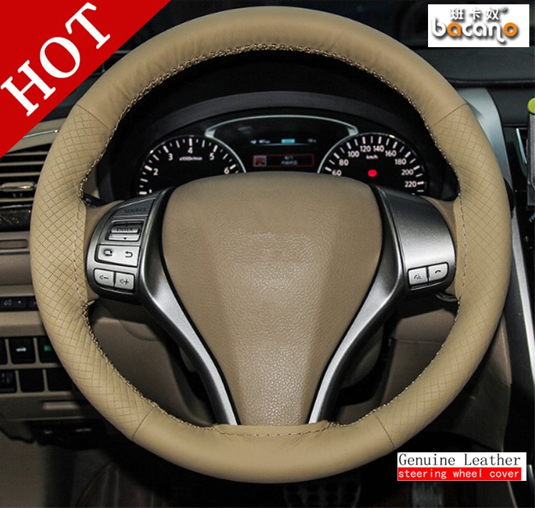BACANO Car Universal DIY BEIGE Steering Wheel Hubs Car Steering Wheel Cover Needles and Thread Artificial leather Car styling