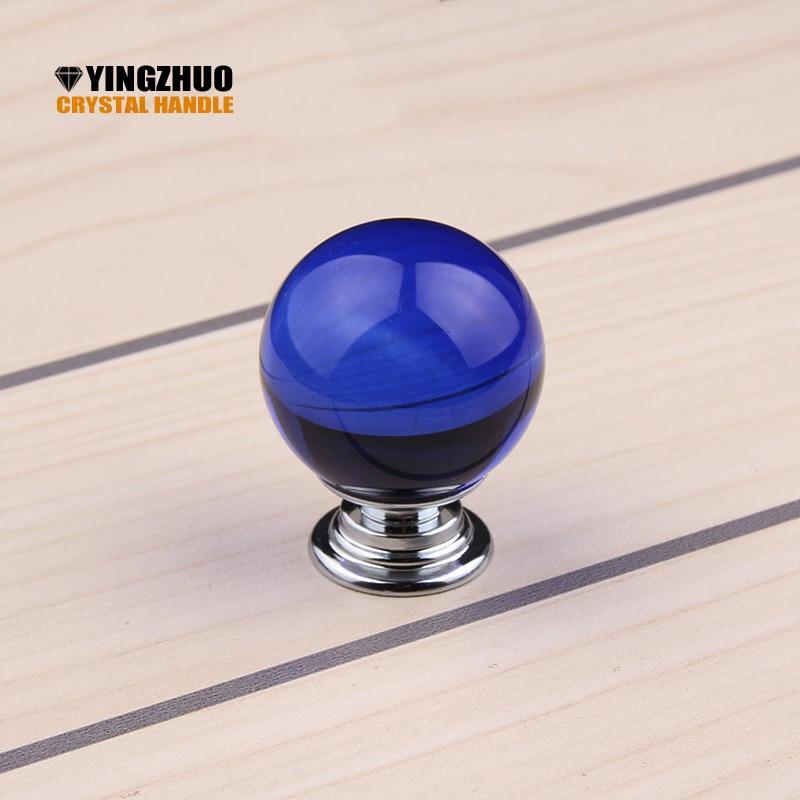 Tiradores de puerta de bola redonda transparente de vidrio Aleación de cristal azul de 30mm tiradores de armario empotrado tiradores de cajón de armario tiradores de muebles