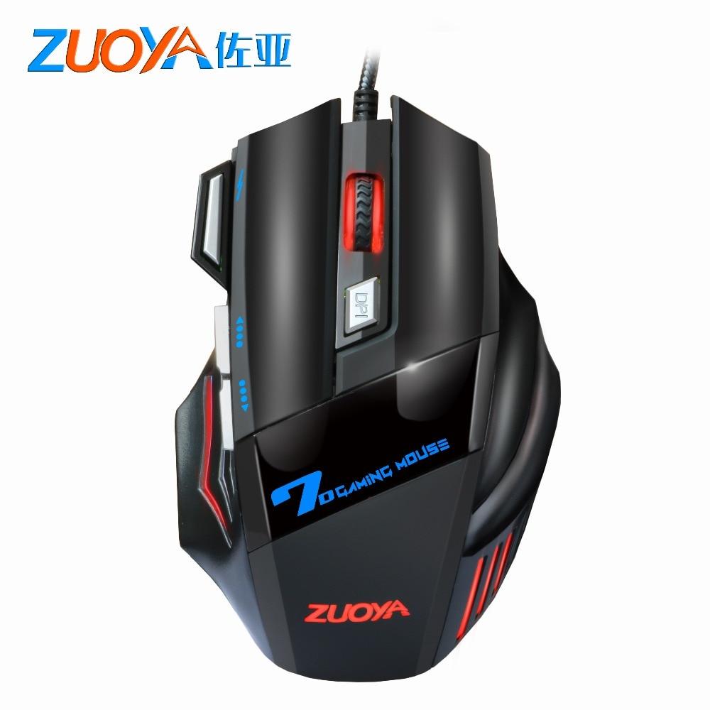 ZUOYA 5500 DPI ratón de juego 7 botones LED óptico con cable ratón USB ratón de juego silencioso/sonido Mause para PC ordenador Pro Gamer