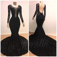sexy mermaid black prom dresses long sleeves 2019 lace applique backless prom party dresses evening gowns