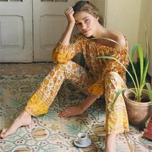 Orange Floral Printed Flare Pants Set Summer Long Sleeve Off Shoulder High Waist Tops Pnats 2 piece Set Boho Hippie Suit Set