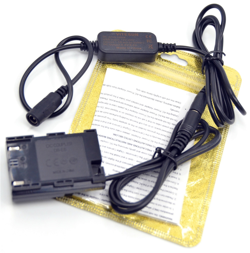 ACk-E6 cargador 12V 12 V-24 V cable adaptador + DR-E6 acoplador de CC LP-E6 batería simulada para Canon EOS 5D Mark II III 5D2 5D3 6D 7D 60D Cámara