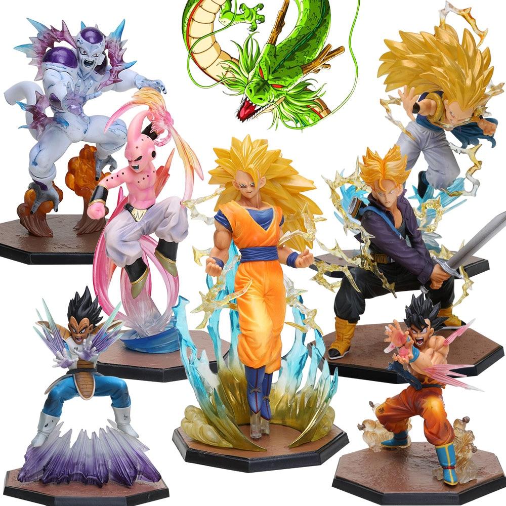Супер Saiyan 3 Majin Buu Vegeta Транкс, Сон Гоку морозильник ПВХ Фигурки Dragon Ball Z фигурка Коллекционная модель игрушки