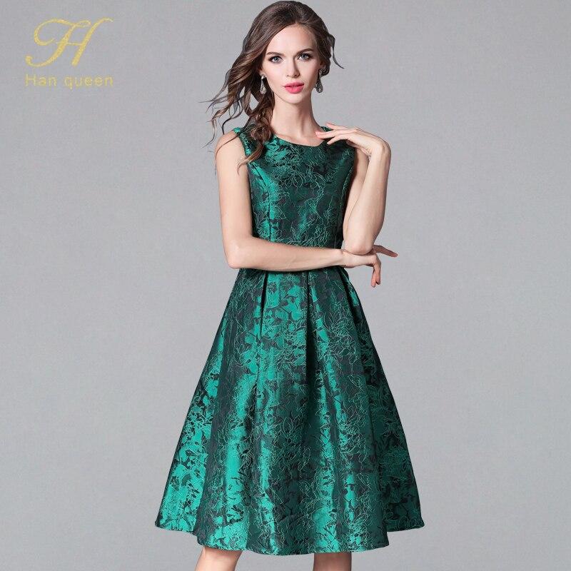 H han queen Plus Size Jacquard Dresses Womens Sleeveless Vintage Elegant Wear To Work Business Party Casual Dress Slim Vestidos