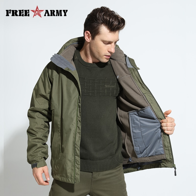 Брендовые мужские водонепроницаемые куртки, зимняя теплая флисовая куртка со съемной подкладкой, ветровка с капюшоном, мужские куртки боль...