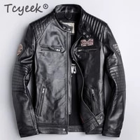tcyeek autumn genuine leather jacket men clothes 2020 streetwear 100 sheepskin coat male fashion motorcycle fit jaqueta lw1092