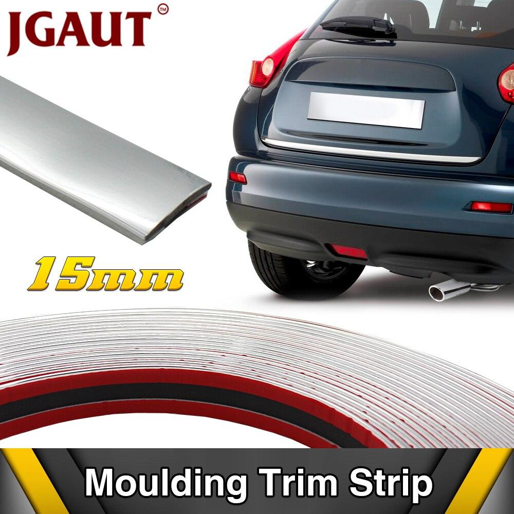 Universal 6m * 15mm Tira Estilo Do Carro Cromo Moldagem Guarnição Auto Adesivo Bater Proteger Automóvel Janela Da Porta de Carro cobrir