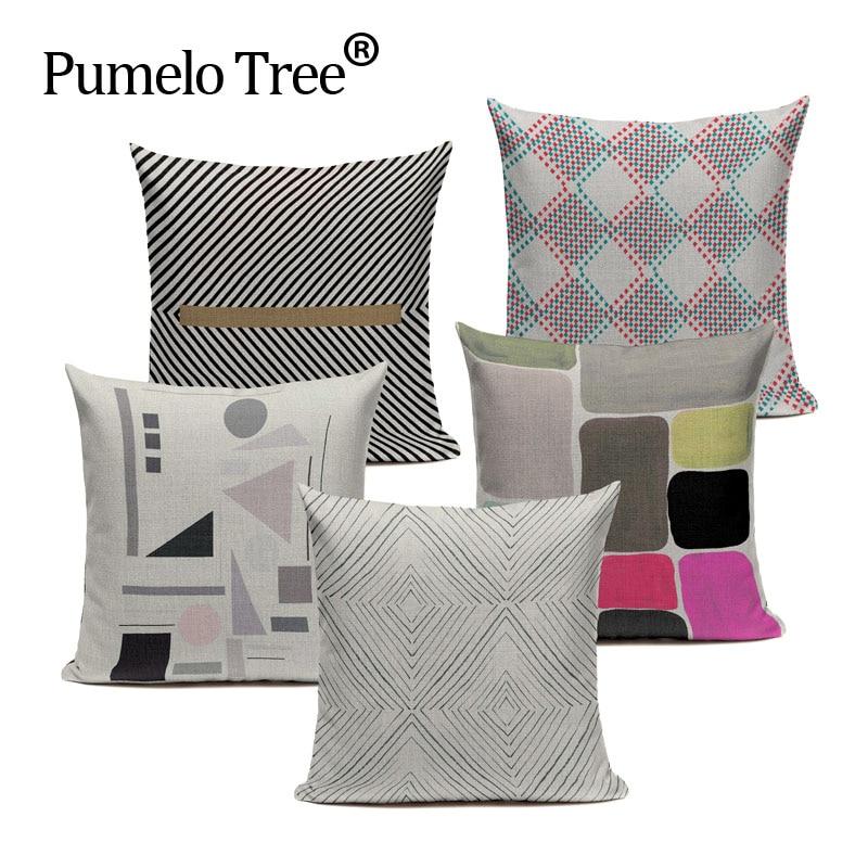 Geometric Lines Strips Pastel Dots Diamond  Cushion Cover Art Car Sofa Home Decor Linen Pillow Cover Throw Pillow Pillowcase