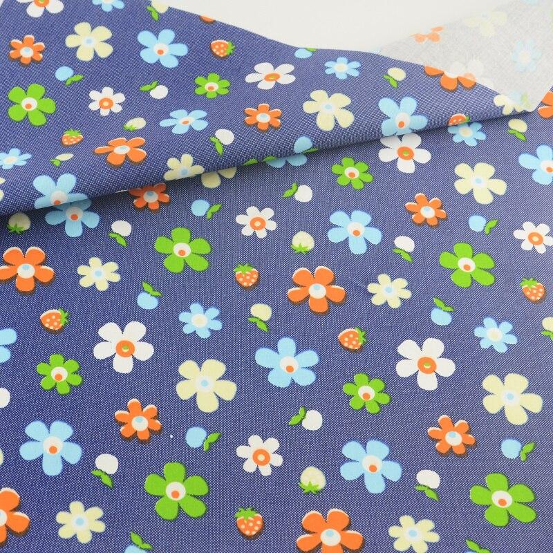 Blue Flower Cotton Fabric Tecido Patchwork Bedding Craft Teramila Fabrics Decoration Tissue Quilting Home Textile Sewing Cloth