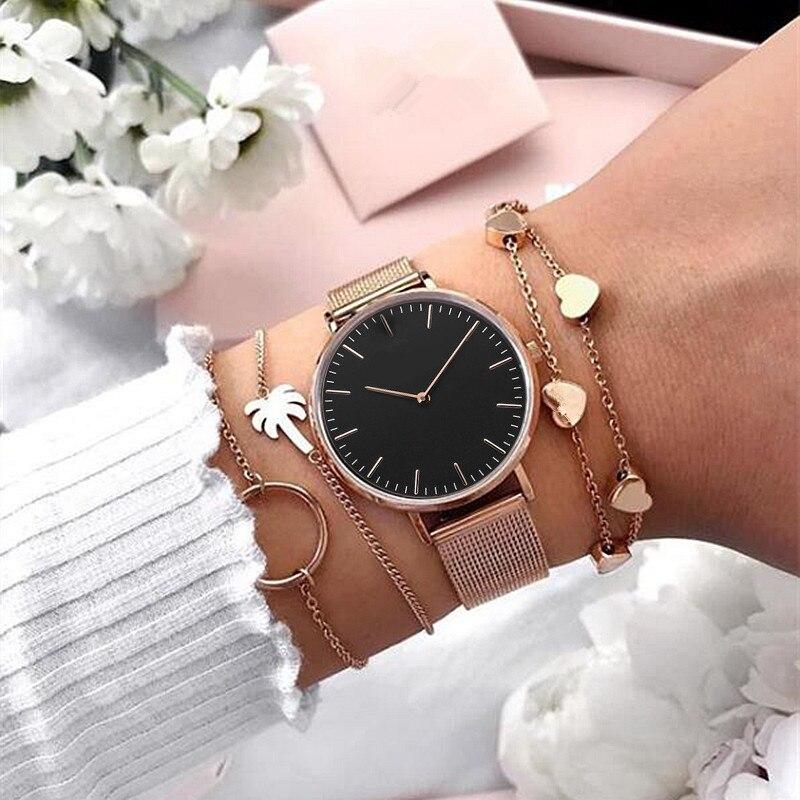 Mavis Hare 2019 belleza superior los relojes de cuarzo de malla de oro rosa de mármol negro con pulsera circular pulsera de palmera como regalo