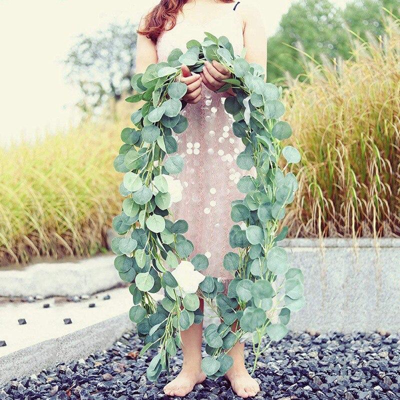 2 m Seda Artificial Videira Folhas de Videira Decoração da Festa de Casamento De Suspensão De Vime Simulação Eucalyptus Parede Pendurado Planta Folhas de Corda