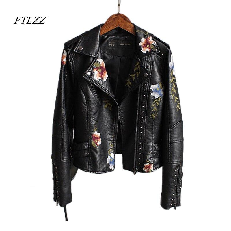 Женская куртка Ftlzz, черная мотоциклетная куртка из мягкой искусственной кожи с цветочным принтом и отложным воротником