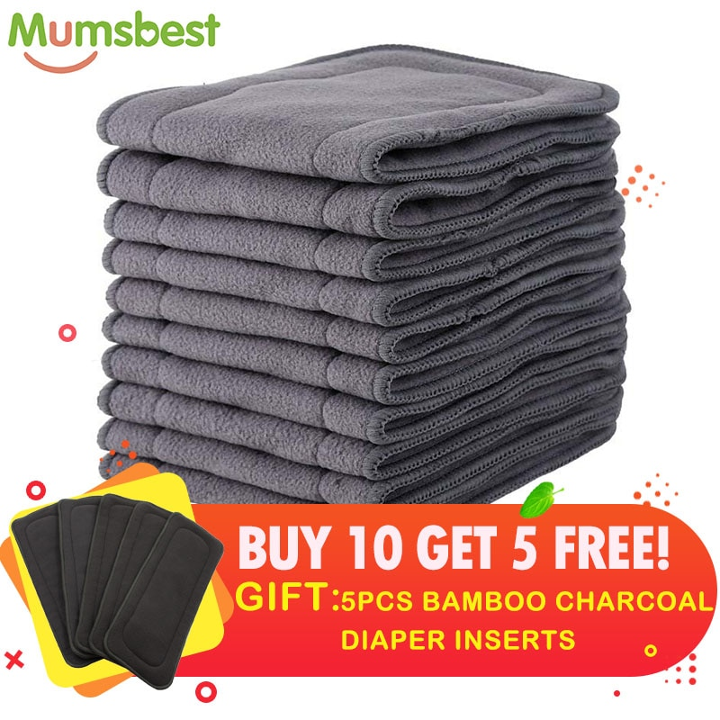 [Mumsbest] Buy 10 Get 5 FREE Charcoal Bamboo Insert  Cloth Reusable Diaper Washable Layer Insert High Absorbent Keep Dry Fast