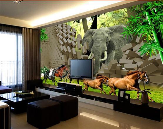 3d papel de parede personalizado 3d murais de parede papel de parede grande murais óculos-livre 3 d hd papel de parede floresta animal papel de parede