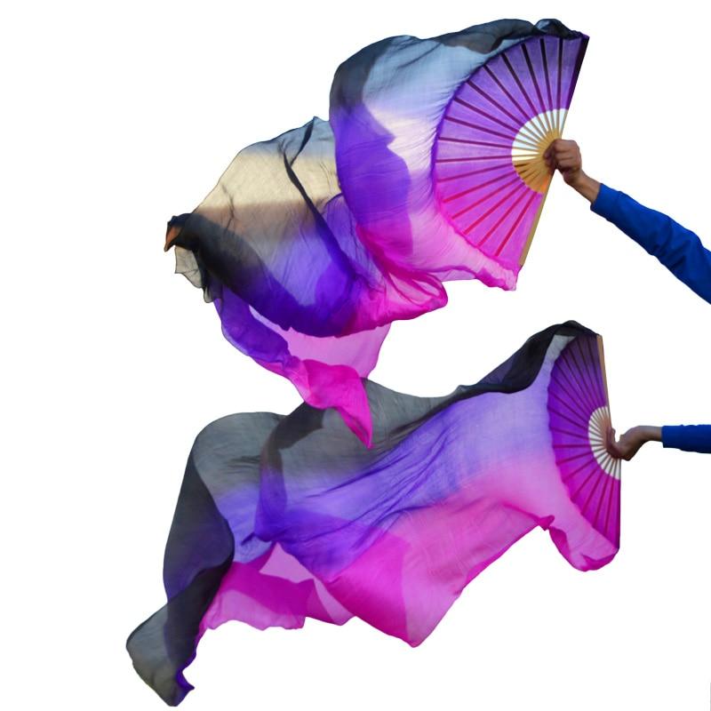 High selling 100% Real Silk Veils 1 Pair handmade women Quality Silk Belly Dance Fan Dance black+ purple +rose stripe недорого