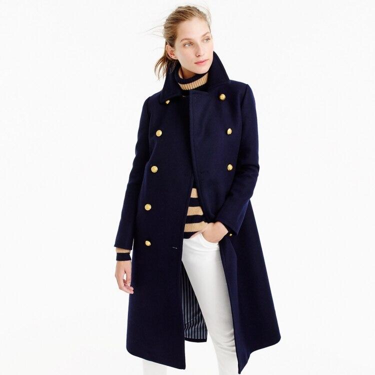 معطف نسائي طويل من الصوف من المملكة المتحدة, معطف طويل من الصوف بأزرار مزدوجة للخريف والشتاء موضة 2021