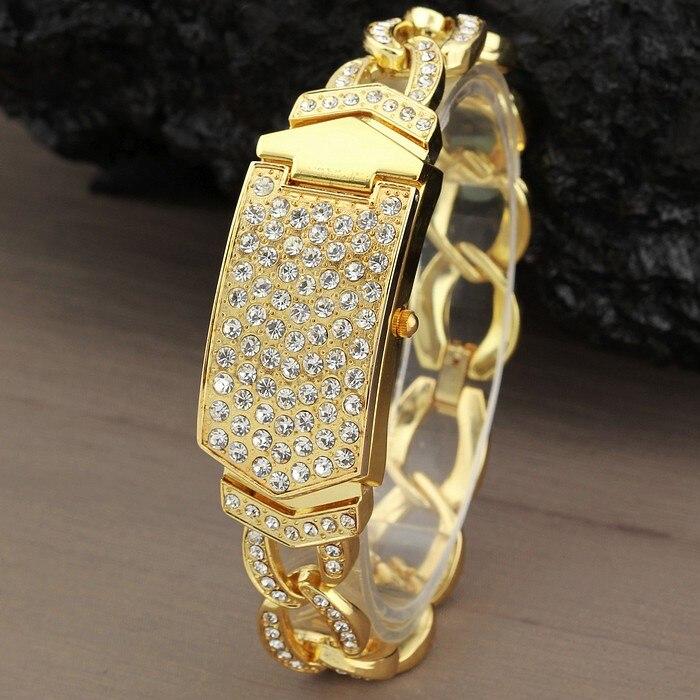 Relógios para Mulheres de Luxo da Marca de Jóias de Strass Vestido da Senhora Relógio de Aço Pulseira Ouro Banda Relógio Feminino Clamshell g & d