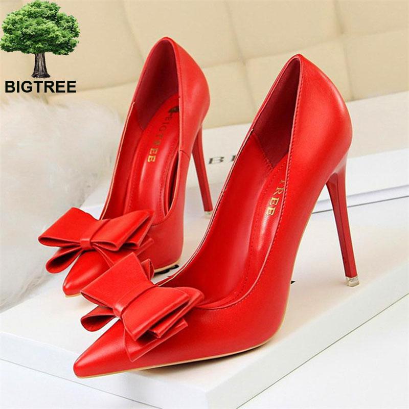 Bigtree doce bowknot deslizamento-on sapatos femininos de couro macio rasa apontou sapatos de escritório bombas de moda outono sapatos de salto alto
