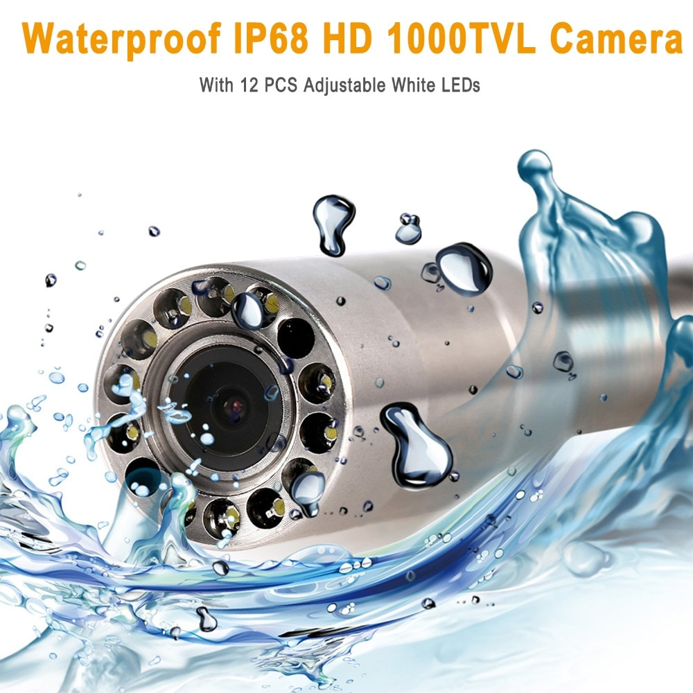SYANSPAN 20/50/100M Pipe Inspection Video Camera, 8GB TF Card DVR IP68 Drain Sewer Pipeline Industrial Endoscope with 9