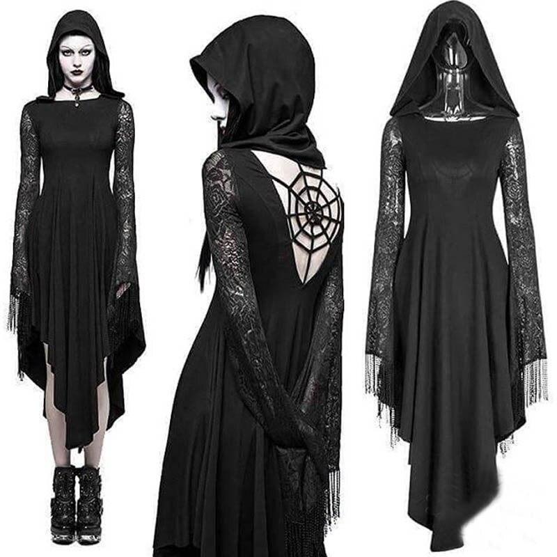 Imilybela gothic hoodie vestido de manga comprida rendas emenda cintura alta vestido preto oco para fora halloween sexy festa vestidos 5xl