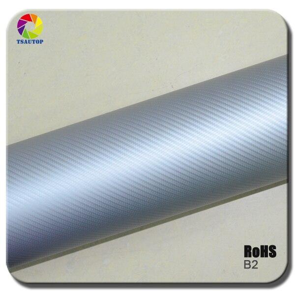 TSAUTOP Size 1.52x 30m high quality 3d carbon film car vinyl wrap Small texture silver color b2