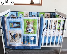 7PCS embroidered baby cot crib bedding set cartoon animal baby crib set tour de lit bébé (4bumper+duvet+bed cover+bed skirt)