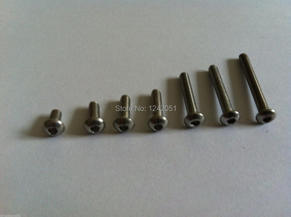 100 Uds rosca métrica M3x35mm cabeza de botón de acero inoxidable tornillos de cabeza hexagonal