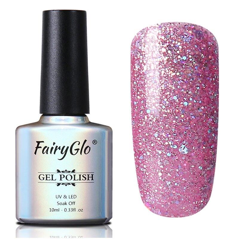 FairyGlo 10ML UV esmalte de uñas en Gel con purpurina Bling Gel polaco remojo Semi permanente pintura Gellak híbrido barniz suerte laca Lak