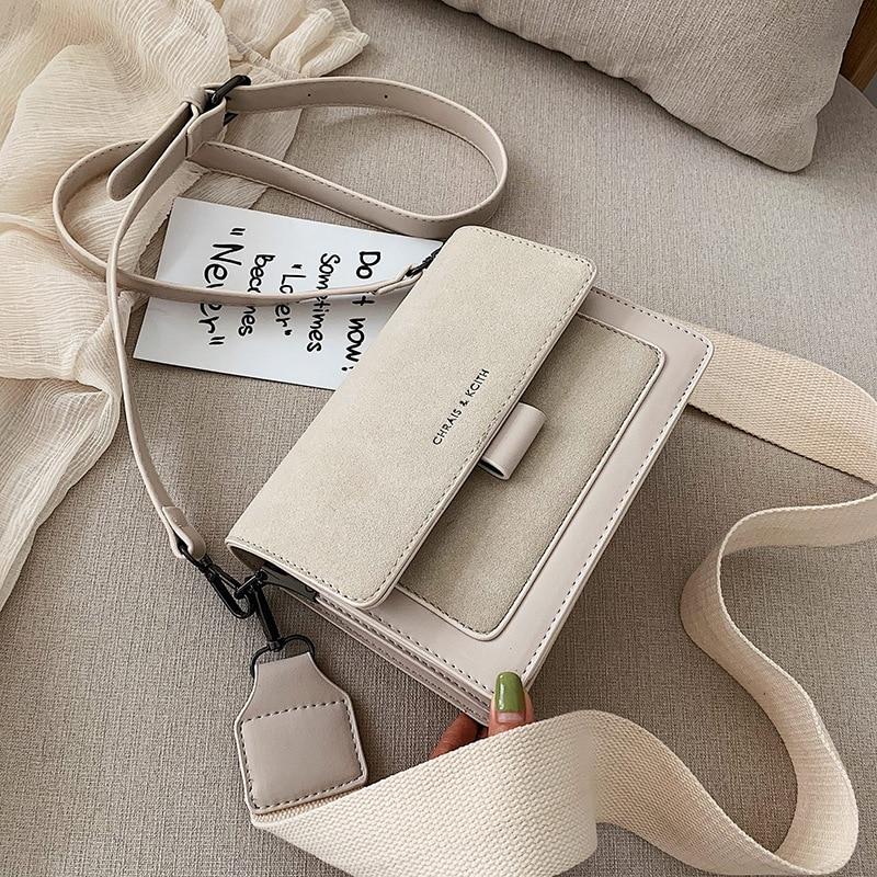 Small bag women 2021 new Korean version of small square bag wide shoulder strap fashion Joker shoulder Messenger bag