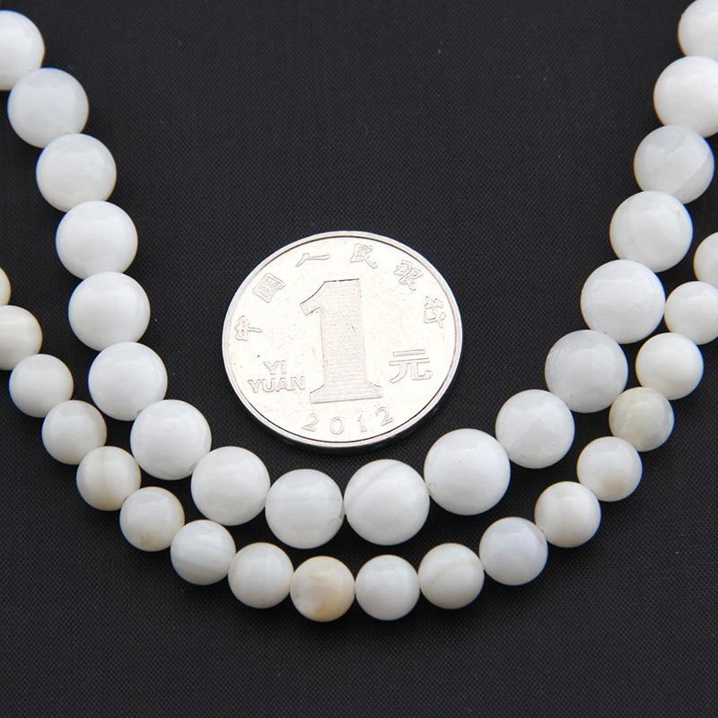 Venta al por mayor hebra completa 4 6 8mm blanco Shell cuentas redondas de la madre de la perla Buddhim perlas naturales para fabricación de joyería DIY Accesorios