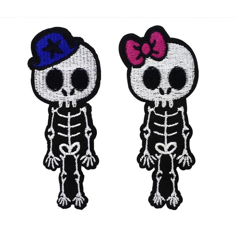 PUNK lindo rayos-X cráneo esqueleto de niña niño parche Rock gótico Emo arco coser hierro en apliques insignia parches para chaqueta mochila