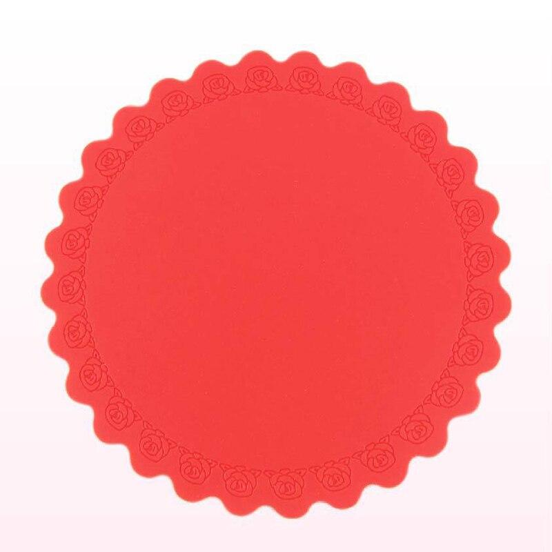 1 Uds Nuevo rojo redondo antideslizante Estera resistente al calor posavasos cojín mantel maceta titular de la Mesa de silicona Mat accesorios de cocina