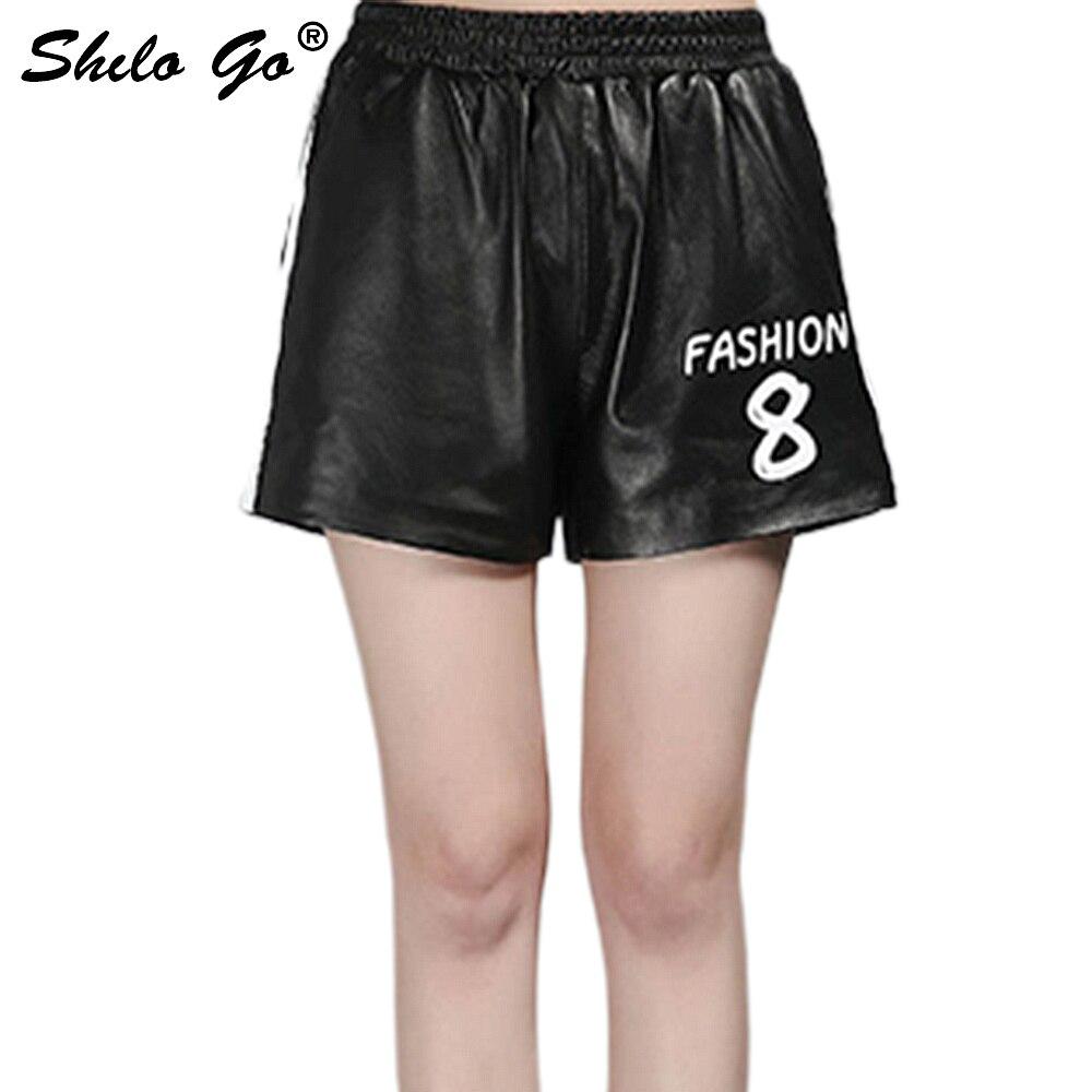 Pantalones cortos de cuero para mujer otoño moda piel de oveja pantalones cortos de cuero genuino cintura alta elástica estampado de letras blanco a rayas pantalones cortos