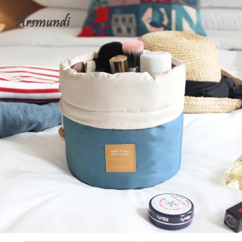 Arsmundi High Capacity Women Makeup Bag Candy Colors Straight Storage Sorting Bag Travel Organizer T