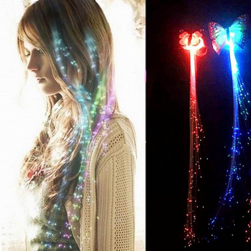 Яркие светодиодные косички в виде бабочки, светящиеся светодиодные косички для волос, украшения Haripin Ligth Up, аксессуары для волос на Хэллоуин