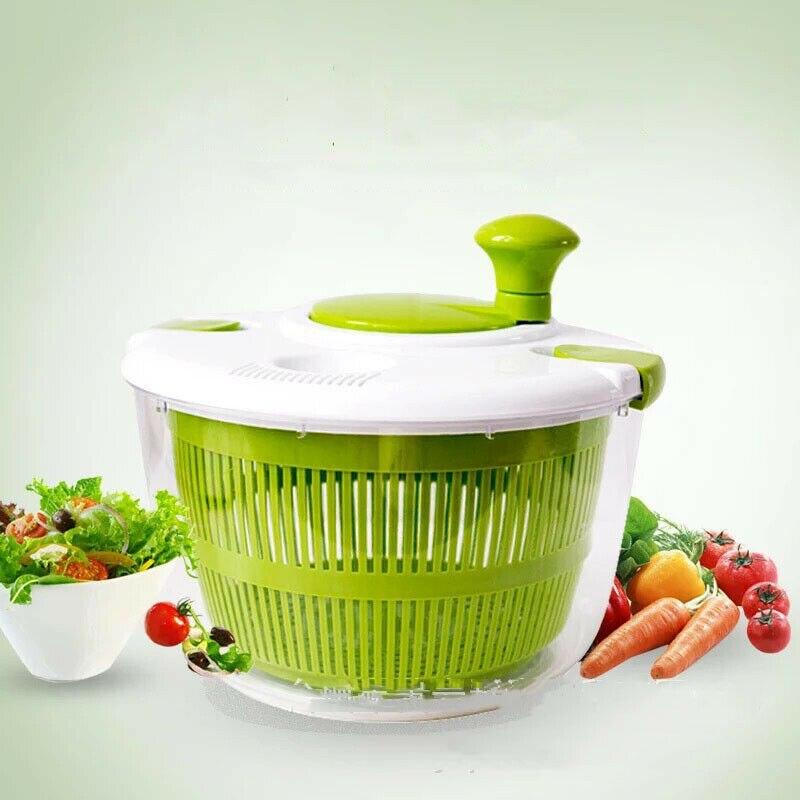 Gran lavadora Manual de ensalada y vegetales, secadora giratoria, deshidratador de fruta para el hogar, nuevos Boles giratorios para ensalada, Verde