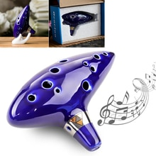 Bleu 12 trous Ocarina céramique Alto ton moyen C flûte Instrument de musique pour mélomane débutant