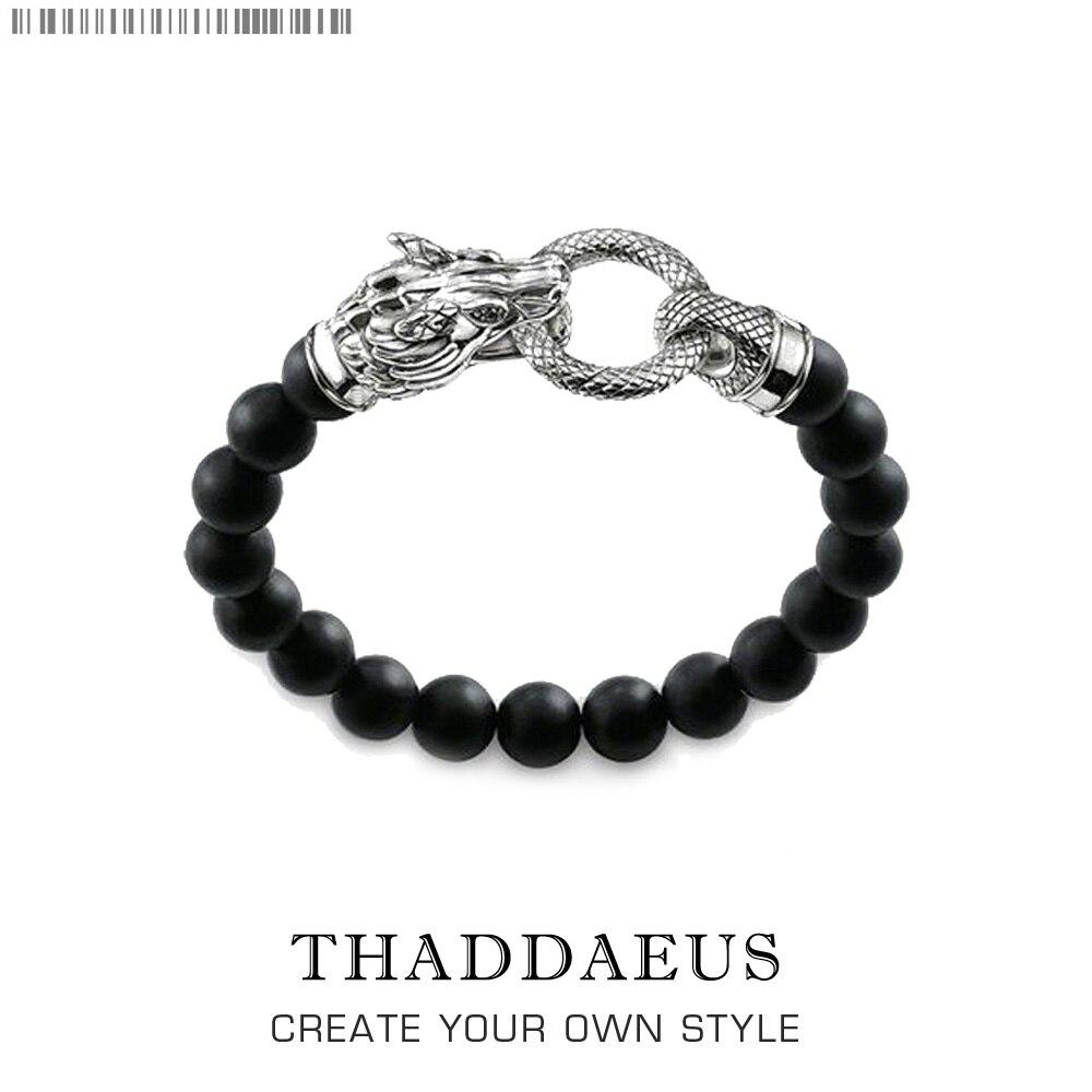 Браслет Rebel Dragon Thomas, стиль панк, модные ювелирные изделия, подарок для мужчин и женщин, серебро 925 пробы и черный обсидиан
