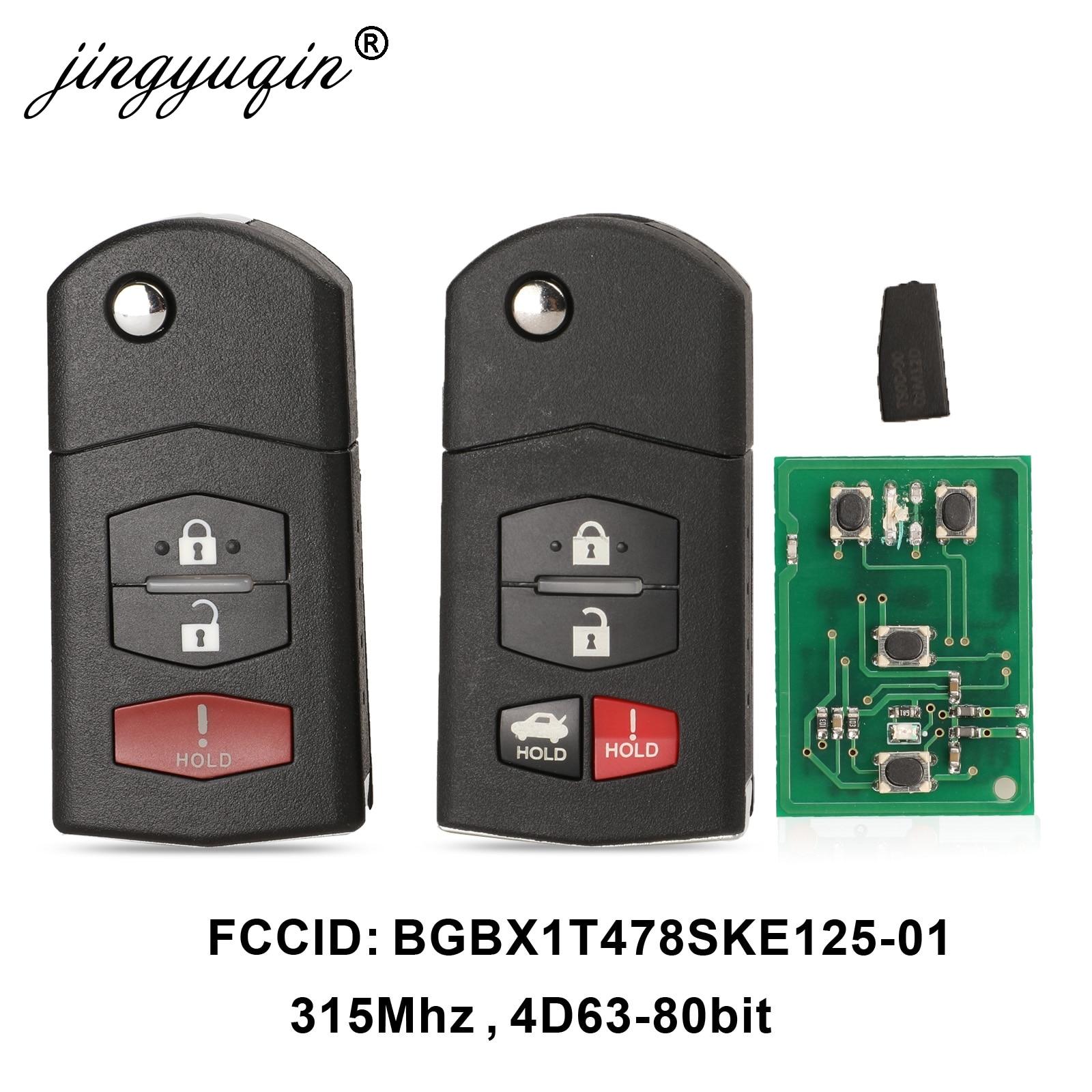 Jingyuqin 3/4 кнопки дистанционный складной Автомобильный ключ 315 МГц для Mazda 3 5 6 CX-7 CX-9 Miata MX-5 4D63 чип Fob