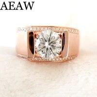 round 9k whiteroseyellow moissanite ring 3ct 9mm gh color luxury moissanite weding ring for mens