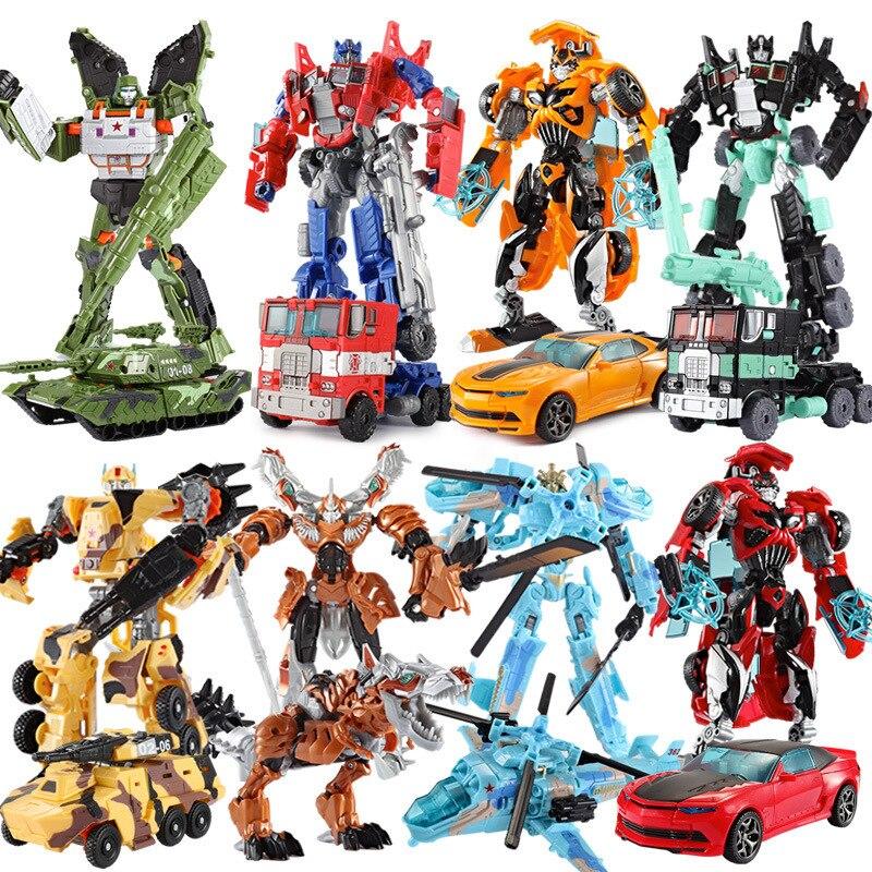 Transformación de coches Robot de plástico figuras de juguete de acción 18,5 cm deformación niños coches de juguete grande transformación clásica coches Robot de juguete