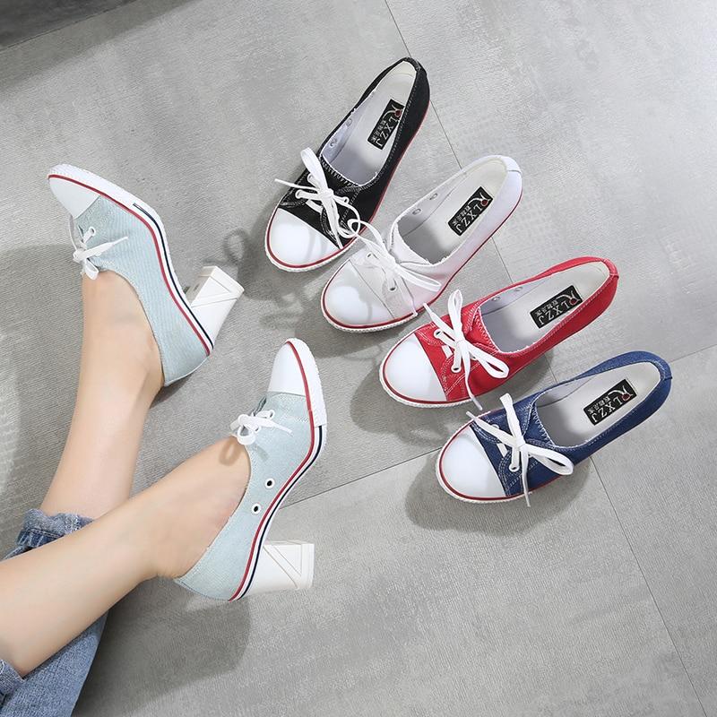 2019 مضخات الدنيم عالية الجودة الفم الضحلة أحذية نسائية عالية الكعب 8 سنتيمتر قماش طالب أحذية النساء أحذية رسمية جديدة حجم 34-41