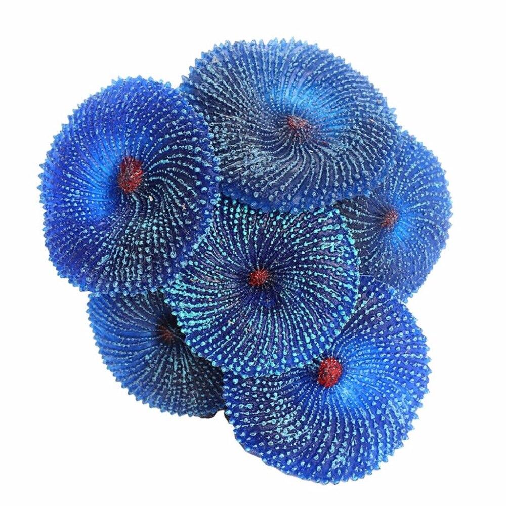Синий, красный, зеленый украшения для аквариума, Искусственная резина, Коралловое море, растение, силиконовые нетоксичны