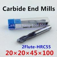 New 2 Flute Head:20mm Tungsten steel cutter CNC milling Carbide End mills Highest cutting hardness: 55HRC 2F 20*20*45*100mm