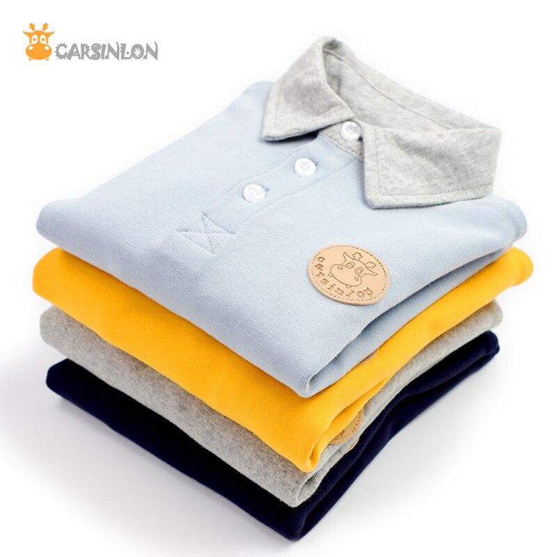 2020 inverno meninos polo camisas de algodão grosso turn-down collar manga longa moletom do bebê menino camiseta de fundo camisa polo
