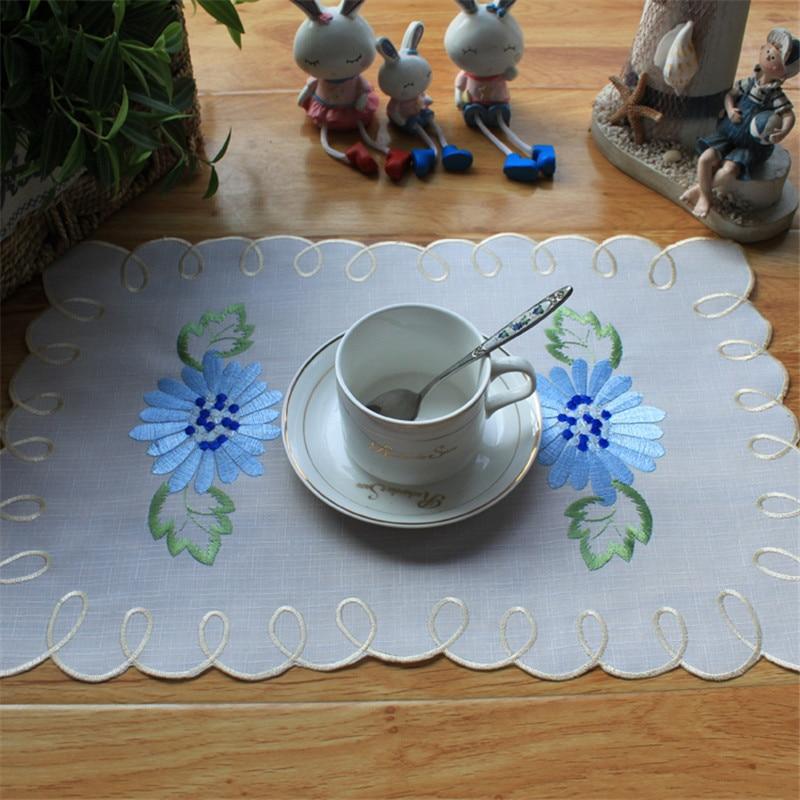 Tapete de encaje de flores bordado moderno hecho a mano de 5 piezas alfombra para mesa de comedor delicada tapete de té
